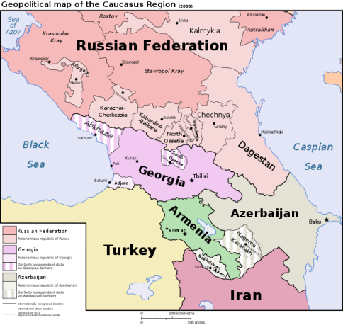 Political map of the Caucasus Region - courtesy of Wikimedia commons.