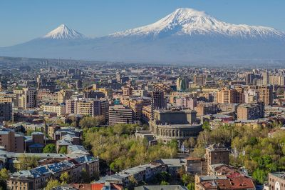 Yerevan with Mount Ararat in the background courtesy of Wikimedia commons.
