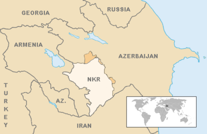 Map of the current borders of the Nagorno Karabakh Republic. Claimed territory in Orange. Courtesy of Wikimedia commons.