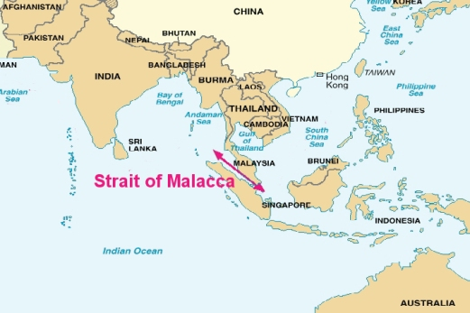 Strait of Malacca, courtesy of Wikimedia Commons.