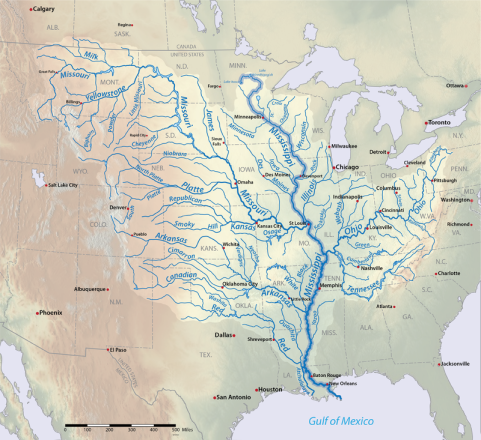 The Mississippi River and its tributaries, courtesy of Wikimedia Commons
