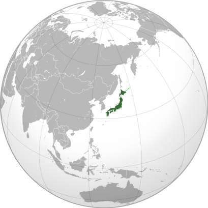Location of Japan, courtesy of Wikimedia Commons