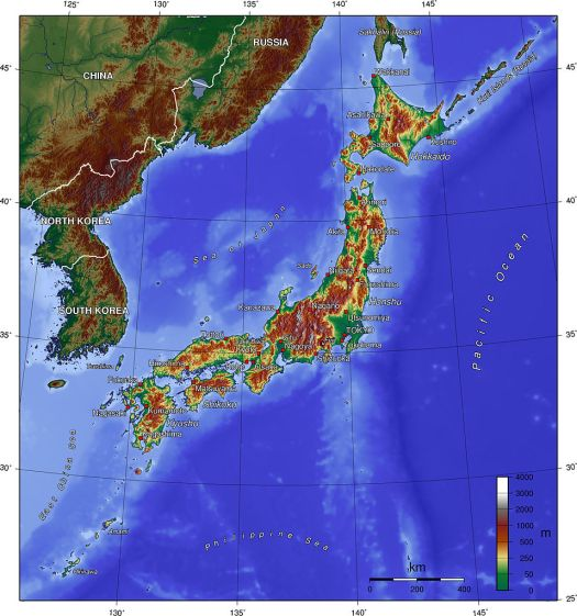 Topographical Map of Japan, courtesy of Wikimedia Commons.