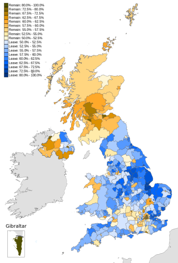 EU Referendum Results by Percentage, courtesy of Wikimedia Commons