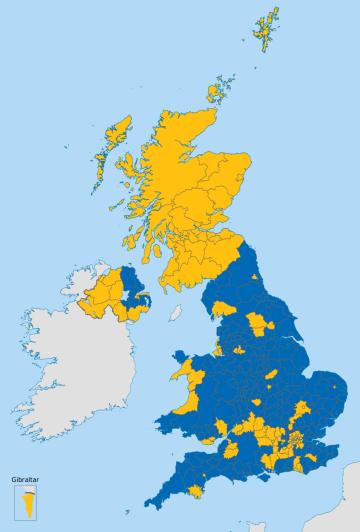 EU Referendum Results Map, courtesy of Wikimedia Commons.