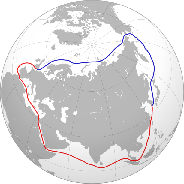 Northeast Passage compared with Southern sea route via Suez Canal. Courtesy of Wikimedia Commons.