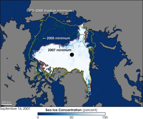 Arctic Sea Ice decline, courtesy of Wikimedia Commons.